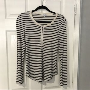 Splendid cream/black striped henley